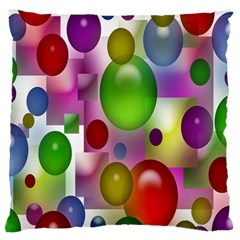 Colorful Bubbles Squares Background Large Flano Cushion Case (Two Sides)