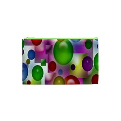 Colorful Bubbles Squares Background Cosmetic Bag (XS)