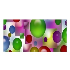Colorful Bubbles Squares Background Satin Shawl