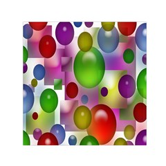 Colorful Bubbles Squares Background Small Satin Scarf (Square)