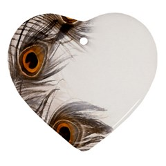 Peacock Feathery Background Ornament (heart)