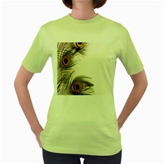 Peacock Feathery Background Women s Green T Shirt