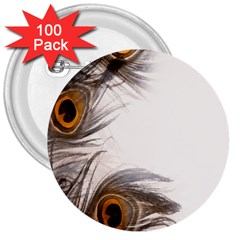 Peacock Feathery Background 3  Buttons (100 Pack)