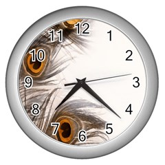 Peacock Feathery Background Wall Clocks (silver)