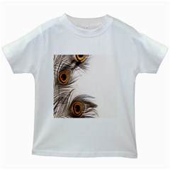 Peacock Feathery Background Kids White T-Shirts