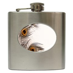 Peacock Feathery Background Hip Flask (6 oz)