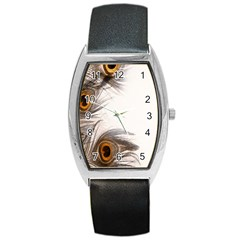 Peacock Feathery Background Barrel Style Metal Watch