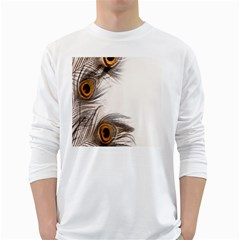 Peacock Feathery Background White Long Sleeve T-Shirts