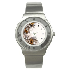 Peacock Feathery Background Stainless Steel Watch