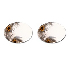 Peacock Feathery Background Cufflinks (Oval)