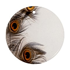 Peacock Feathery Background Round Ornament (Two Sides)