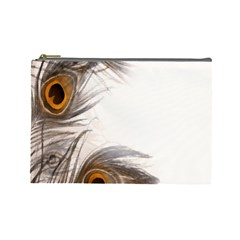 Peacock Feathery Background Cosmetic Bag (Large)