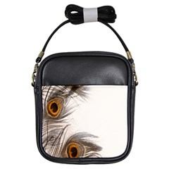 Peacock Feathery Background Girls Sling Bags