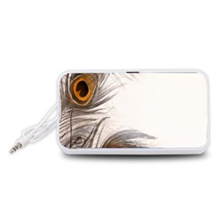 Peacock Feathery Background Portable Speaker (White)