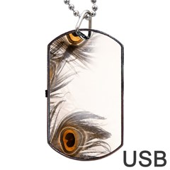 Peacock Feathery Background Dog Tag USB Flash (Two Sides)