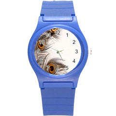 Peacock Feathery Background Round Plastic Sport Watch (S)