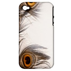 Peacock Feathery Background Apple iPhone 4/4S Hardshell Case (PC+Silicone)