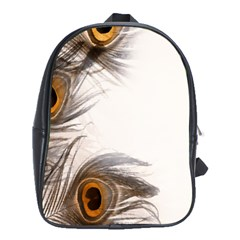 Peacock Feathery Background School Bags (XL)