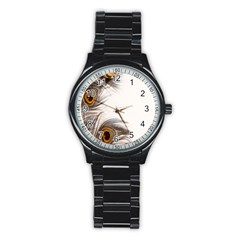 Peacock Feathery Background Stainless Steel Round Watch