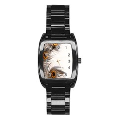 Peacock Feathery Background Stainless Steel Barrel Watch