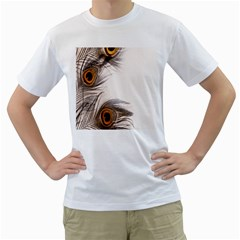 Peacock Feathery Background Men s T-Shirt (White)