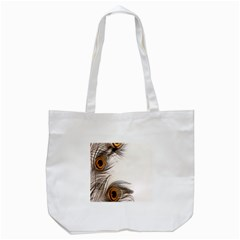 Peacock Feathery Background Tote Bag (White)