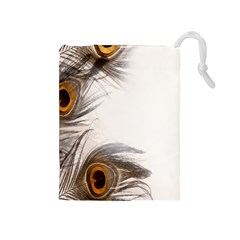 Peacock Feathery Background Drawstring Pouches (Medium)