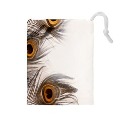 Peacock Feathery Background Drawstring Pouches (large)