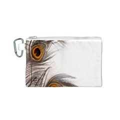 Peacock Feathery Background Canvas Cosmetic Bag (S)