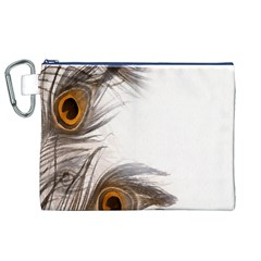Peacock Feathery Background Canvas Cosmetic Bag (XL)