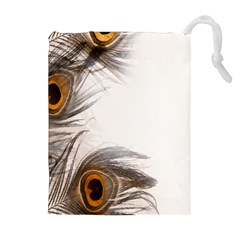 Peacock Feathery Background Drawstring Pouches (Extra Large)
