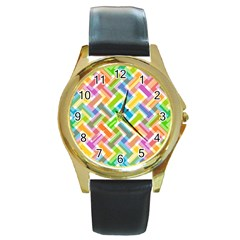 Abstract Pattern Colorful Wallpaper Round Gold Metal Watch
