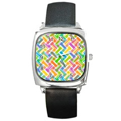 Abstract Pattern Colorful Wallpaper Square Metal Watch