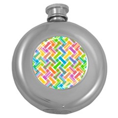 Abstract Pattern Colorful Wallpaper Round Hip Flask (5 oz)