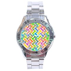 Abstract Pattern Colorful Wallpaper Stainless Steel Analogue Watch