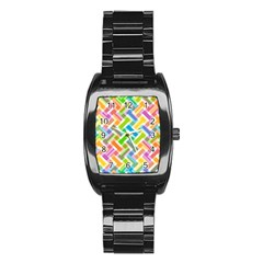Abstract Pattern Colorful Wallpaper Stainless Steel Barrel Watch
