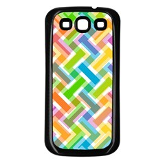 Abstract Pattern Colorful Wallpaper Samsung Galaxy S3 Back Case (Black)