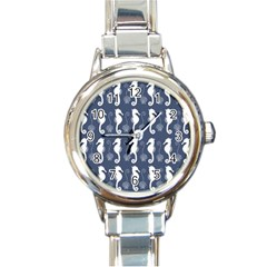 Seahorse And Shell Pattern Round Italian Charm Watch