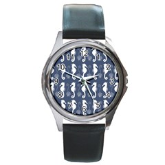Seahorse And Shell Pattern Round Metal Watch