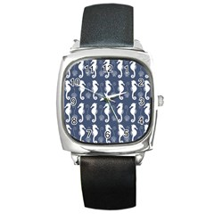 Seahorse And Shell Pattern Square Metal Watch
