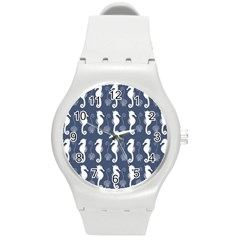 Seahorse And Shell Pattern Round Plastic Sport Watch (M)