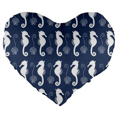 Seahorse And Shell Pattern Large 19  Premium Heart Shape Cushions