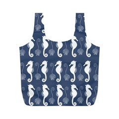 Seahorse And Shell Pattern Full Print Recycle Bags (M)
