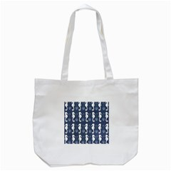 Seahorse And Shell Pattern Tote Bag (White)
