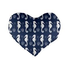 Seahorse And Shell Pattern Standard 16  Premium Flano Heart Shape Cushions