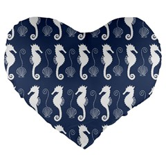 Seahorse And Shell Pattern Large 19  Premium Flano Heart Shape Cushions