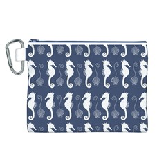 Seahorse And Shell Pattern Canvas Cosmetic Bag (L)
