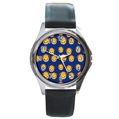 Monkeys Seamless Pattern Round Metal Watch