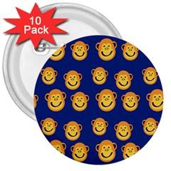Monkeys Seamless Pattern 3  Buttons (10 Pack)