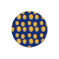 Monkeys Seamless Pattern Magnet 3  (round)